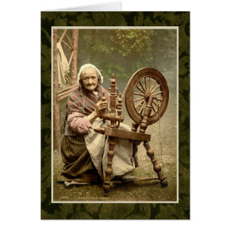 Irish Woman With Her Spinning Wheel Greeting Card