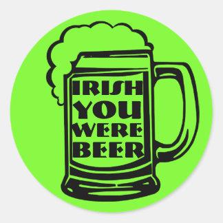 Irish You Were Beer Classic Round Sticker