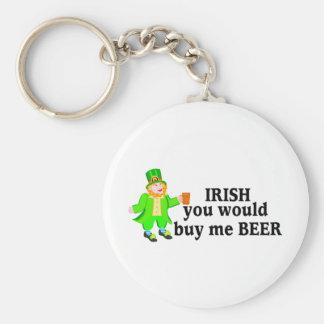 Irish You Would Buy Me Beer Leprechaun Basic Round Button Key Ring