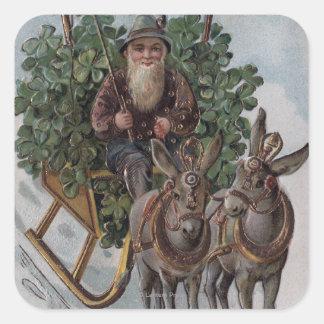 Irishman Driving Sleigh of Shamrocks Square Sticker
