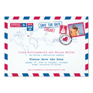 Irleand Airmail | Save the Date 13 Cm X 18 Cm Invitation Card