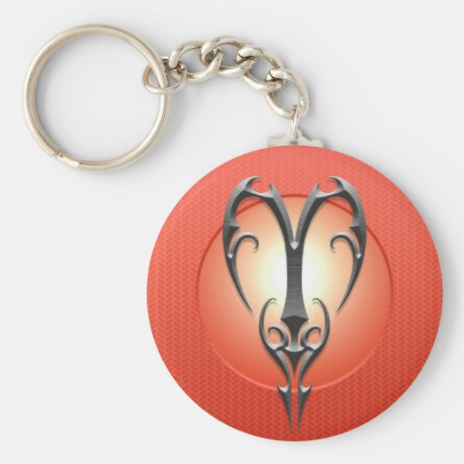 Iron Aries Symbol, red Keychains