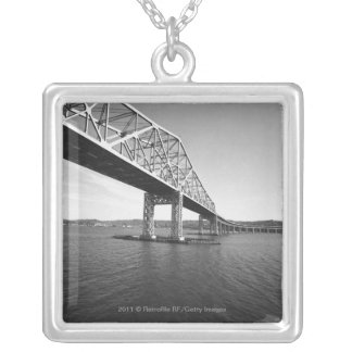 Iron bridge B&W Silver Plated Necklace