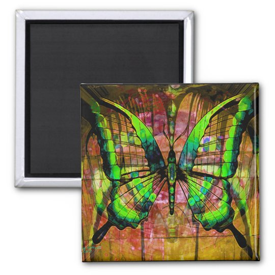 Iron Butterfly Square Magnet