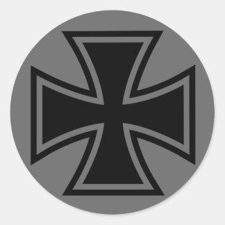 Iron Cross black grey Classic Round Sticker
