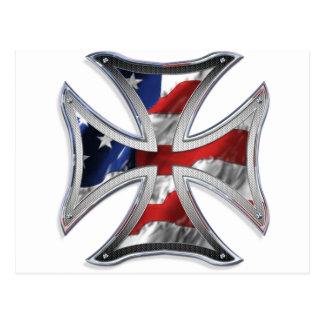 Iron Cross w/ American Flag Postcard