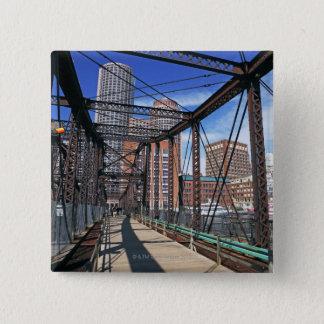 Iron footbridge with Boston Financial district 15 Cm Square Badge