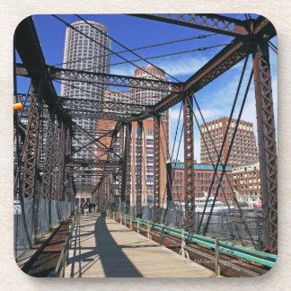 Iron footbridge with Boston Financial district Drink Coasters