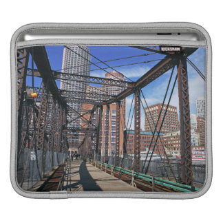 Iron footbridge with Boston Financial district iPad Sleeve