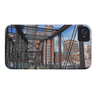 Iron footbridge with Boston Financial district iPhone 4 Case-Mate Case