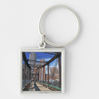 Iron footbridge with Boston Financial district Key Ring
