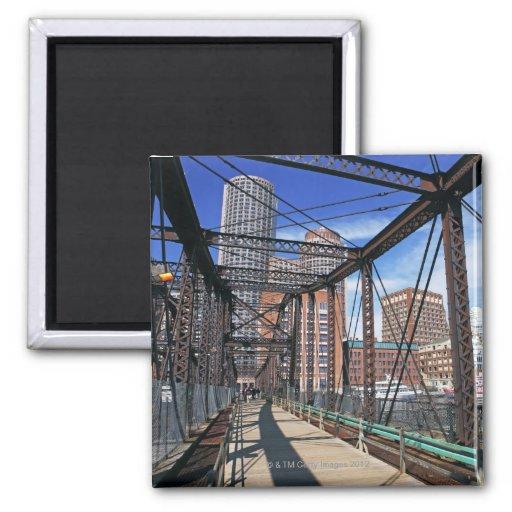 Iron footbridge with Boston Financial district Fridge Magnet