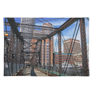 Iron footbridge with Boston Financial district Placemat