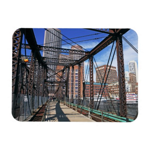 Iron footbridge with Boston Financial district Magnets