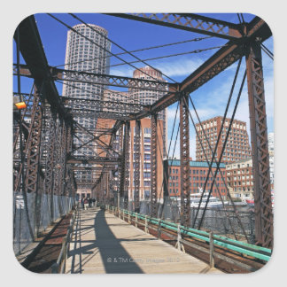 Iron footbridge with Boston Financial district Square Sticker