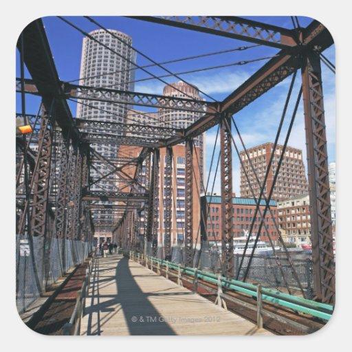 Iron footbridge with Boston Financial district Square Stickers