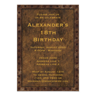 Iron Framed Effect Boys Birthday Double Sided 13 Cm X 18 Cm Invitation Card