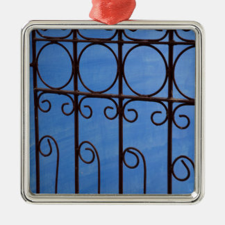 Iron gate pattern in blue, Cuba Christmas Ornament