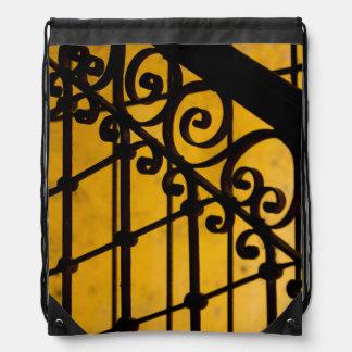 Iron gate pattern in yellow, Cuba Drawstring Bag