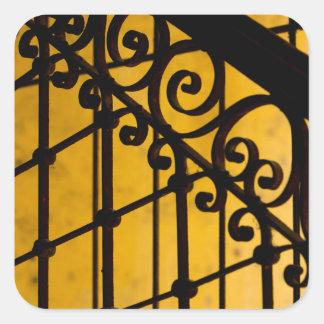 Iron gate pattern in yellow, Cuba Square Sticker