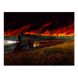 Iron Horse on Prairie ~ Midnight Train POSTCARD