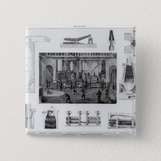 Iron-Making with a General View of Rolling Iron 15 Cm Square Badge