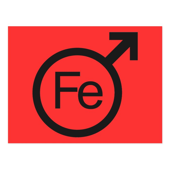 Iron Man Male gender symbol Fe design Postcard