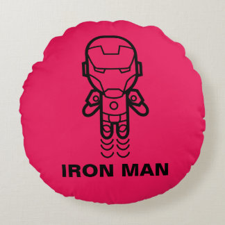 Iron Man Stylized Line Art Round Cushion