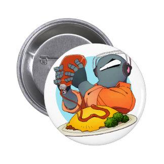 Iron mask yarou and omuraisu 6 cm round badge