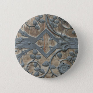 Iron Medieval Lock on Wooden Door 6 Cm Round Badge