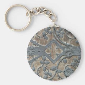 Iron Medieval Lock on Wooden Door Basic Round Button Key Ring