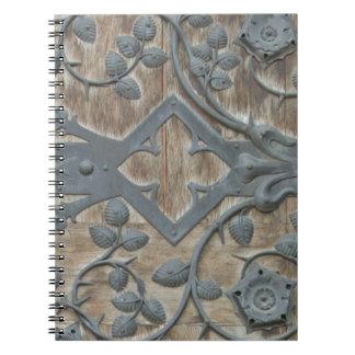 Iron Medieval Lock on Wooden Door Note Book