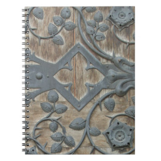 Iron Medieval Lock on Wooden Door Notebook