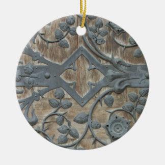 Iron Medieval Lock on Wooden Door Round Ceramic Decoration
