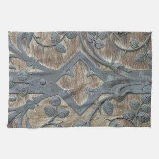 Iron Medieval Lock on Wooden Door Tea Towel