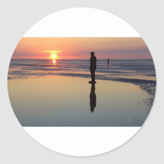 Iron Men at Sunset, Crosby, Liverpool UK Classic Round Sticker