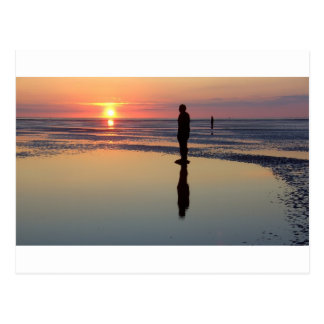 Iron Men at Sunset, Crosby, Liverpool UK Postcard