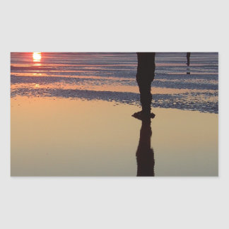 Iron Men at Sunset, Crosby, Liverpool UK Rectangular Sticker