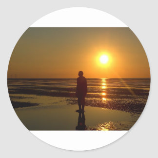 Iron Men Sculpture at Sunset, Crosby, Liverpool UK Classic Round Sticker