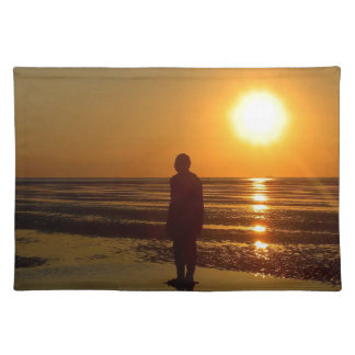 Iron Men Sculpture at Sunset, Crosby, Liverpool UK Placemat