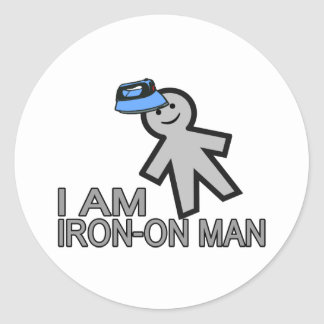 Iron-On Man Classic Round Sticker