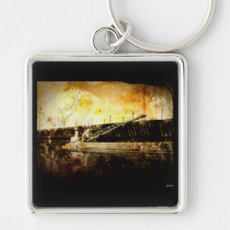 Iron Ore Freighter Silver-Colored Square Key Ring