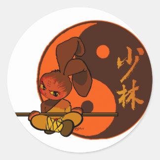 iron shaolin bunny fury classic round sticker