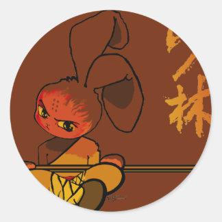 iron shaolin bunny kwan dao round sticker