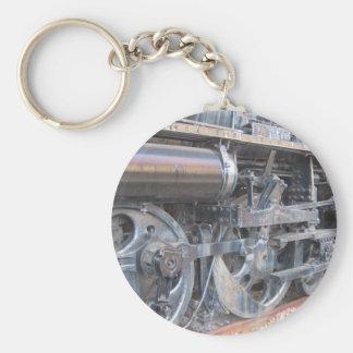 Iron Wheels of a Majestic Iron Horse Locomotive Key Ring