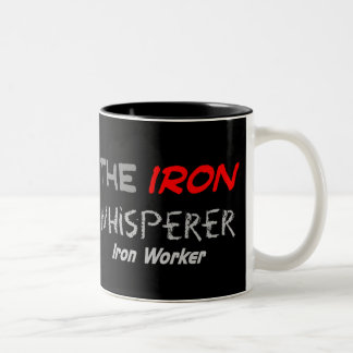 "Iron Worker Gifts for Men ""The Iron Whisperer"" Two-Tone Coffee Mug"