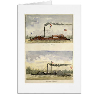 Ironclads Essex and Choctaw by Stouffer 1864 Card