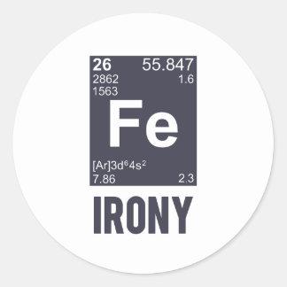 Ironic Chemical Element FE Irony Classic Round Sticker