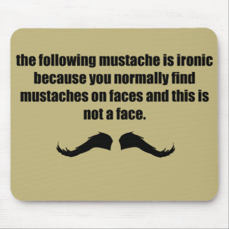 Ironic Mustache WTF tan Mouse Pad