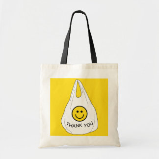 Ironic Plastic Smiley Face Thank You Bag Tote
